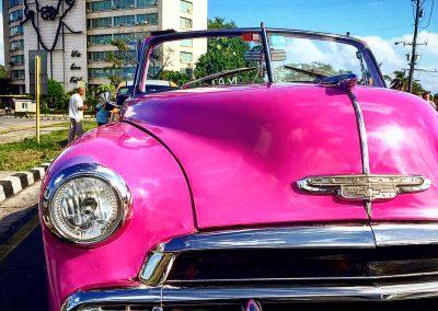 vintage pink car- plaza de la revolucion - havana - cuba - cr -culturalcuba